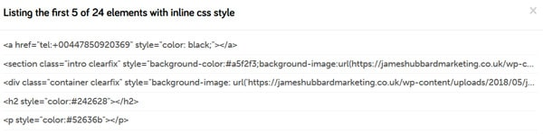 Inline CSS check results